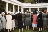 League Delegates Meeting President Eisenhower in the Rose Garden